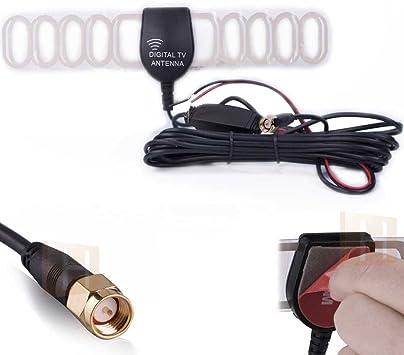 DVB-T TV Antena Amplificador para coche Auto Radio – DVB-T Box y DVBT Reciever 20dB 12 V con conector SMA y 3 m Adhesivo para parabrisas: Amazon.es: Electrónica