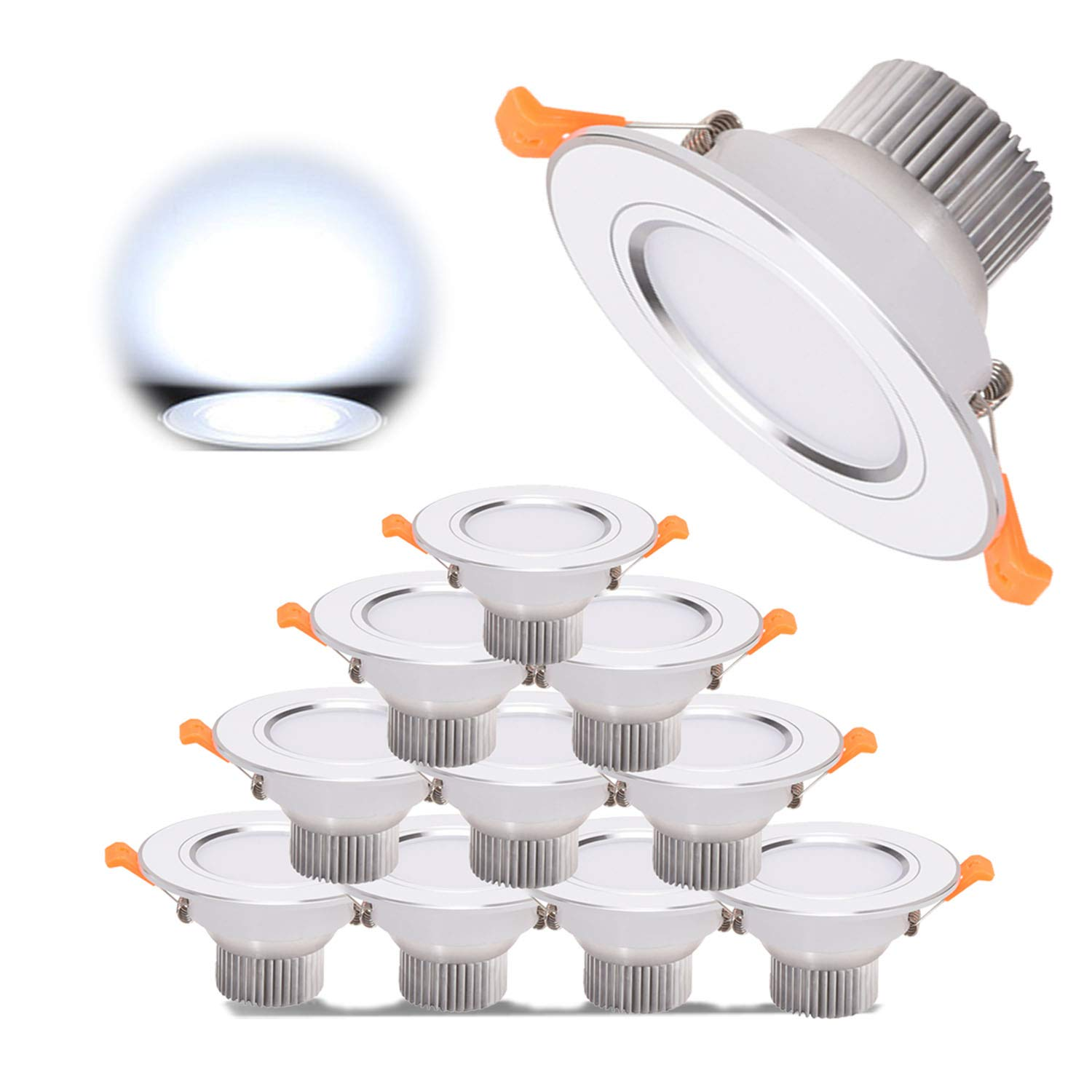 10 x LED Recessed Lighting, Ceiling Downlight High CRI Ra80 AC 85-265V 3W Cold White 6000K 300LM 30W Incandescent Equivalent Not Dimmable Spotlights for Bathroom Kitchen [Energy Class A+] Grt