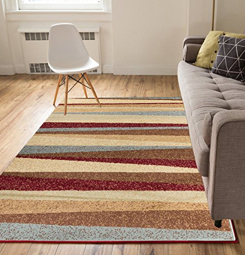 Well Woven Stripes Blue Red 5' x 7' Area Rug Carpet