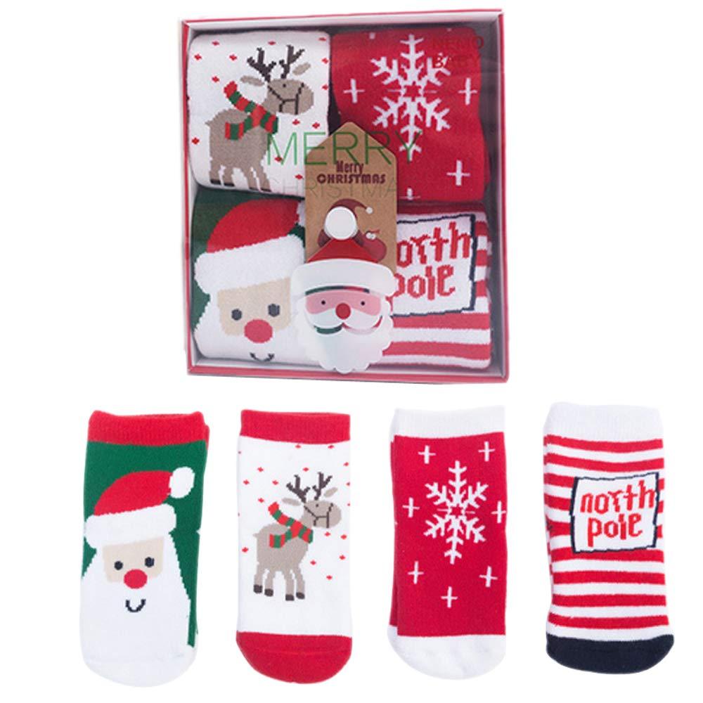 XRDSS Baby Winter Cotton Tube Socks Kids Christmas Print Socks Slipper Socks 4 Pairs