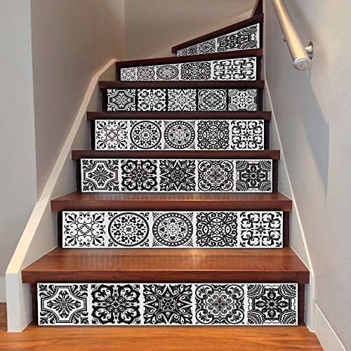 - Uphome 6 PCS 3D Floral Tile Self-adhesive Stair Stickers Removable Waterproof Wall Stickers - Stair Riser Decal for Living Room, Hall, Kids Room Decor (Floral Tile)
