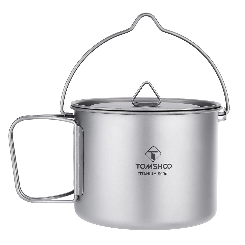 TOMSHOO Ultralight Titanium 900ml Pot with Foldable Bail Handle by TOMSHOO