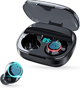 Wireless Mini Earbuds Waterproof Bluetooth Earbuds Touch Control TWS Stereo in-Ear Headphones Wireless Bluetooth Earphones with Microphone Compatible with iPhone and Android