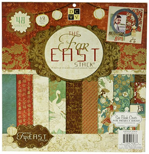 Foil Print Paper - Die Cuts With A View 48-Sheet Premium Stack, 12-inches by 12-inches, Far East