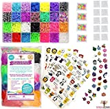14,700+ Premium Rainbow Loom Bands Mega Refill Kit w/ 30+ Bright Colors, 13,900 Rubber Bands, 1,000 Clips, 200 Beads, 30 Charms and 120 Authentic Animal Stickers