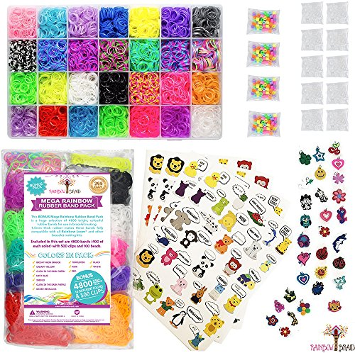 14,700+ Premium Rainbow Loom Bands Mega Refill Kit w/ 30+ Bright Colors, 13,900 Rubber Bands, 1,000 Clips, 200 Beads, 30 Charms and 120 Authentic Animal - Buy One Get One Frame Free