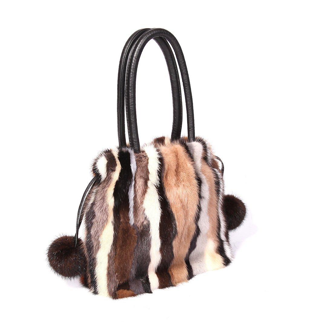 URSFUR Women Shoulder Handbag Mink Fur Clutch Tote Hobo Bag Purse with Fur Ball