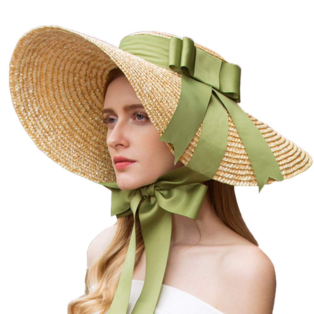 Victorian Hat History | Bonnets, Hats, Caps 1830-1890s FADVES Hepburn Style Straw Sun Hat Wide Brim Kentucky Derby Travel Beach Cap Ribbon Bow $49.99 AT vintagedancer.com