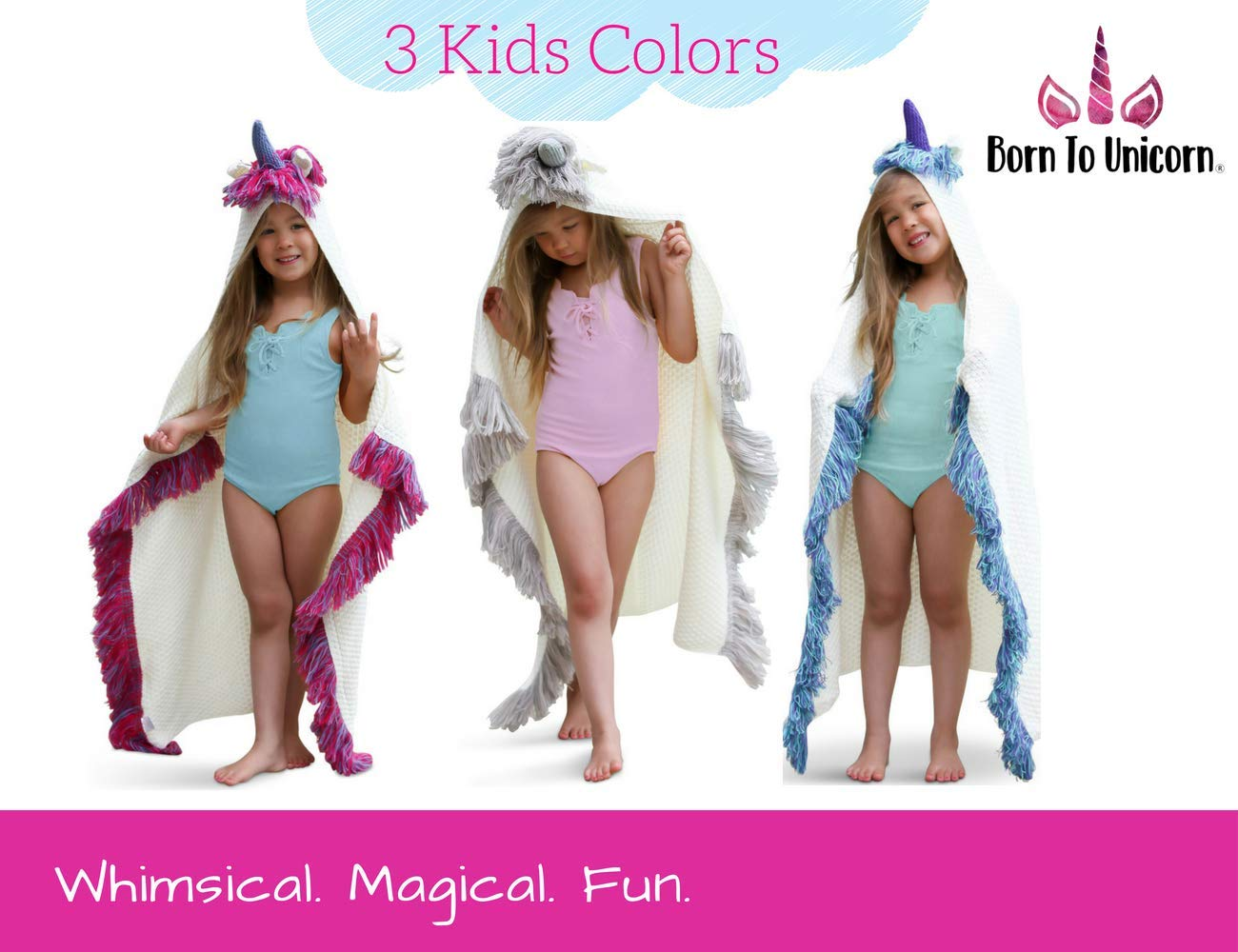 Born To Unicorn Blanket for Girls- Hooded, Kids Pink, Purple Wearable Crochet Knit w/Hood Throw Blankets Wrap, Toddlers Cute Plush Knitted Hoodie, Soft Kids Blanket Gift, Cozy Magic Cloak w/Hood by Born To Unicorn (Image #7)