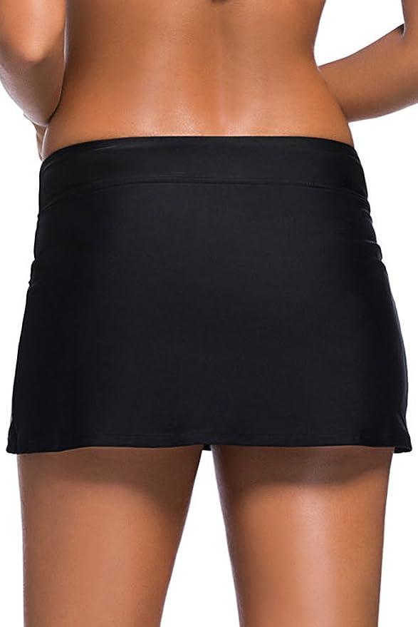 Pantaloncini da Bagno da Donna Pantaloncini Ccon Ggonna Costume da Bagno da Spiaggia Solido Elastico da Donna FuYang Slip Bikini con Gonna S-XXXXL