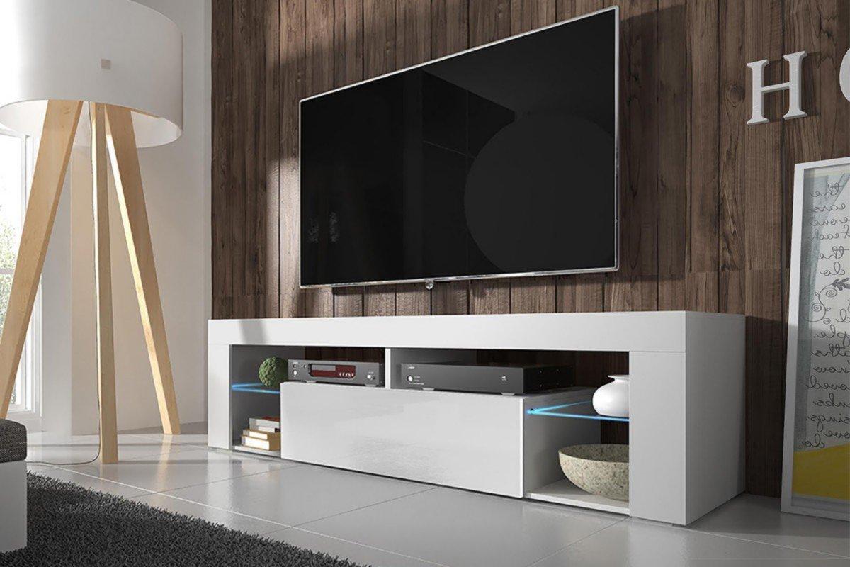 Tv Schrank EVEREST Tv Niedrigboard Unterschrank Hochglanz       Mit LED     (weiß matt   weiß hochglanz) dec104