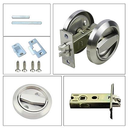 LEICHI Stainless Steel 304 Corridor Locks Doorknobs Cabinet Furniture  Hidden Recessed Cup Install Privacy Sliding Door