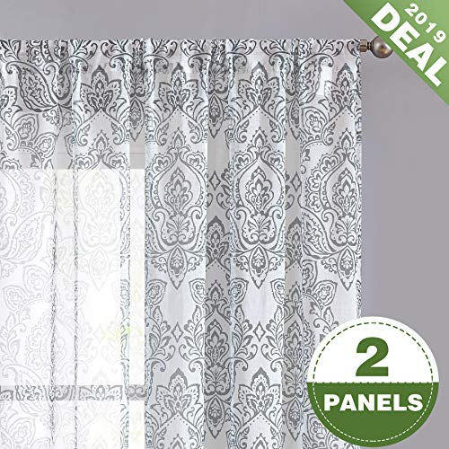ECODECOR Grey Damask Print Sheer Curtain 63 inch for Bedroom Linen Look Vintage Flower Window Drapes Living Room Rod Pocket Set of 2