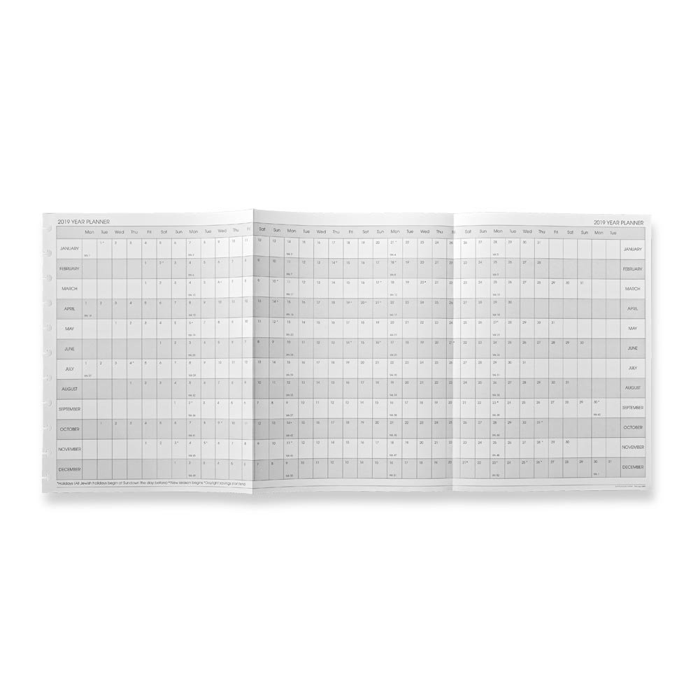 Levenger Circa Monthly Tabs & Pullout Calendar, Letter 2019 (ADS6845 19)