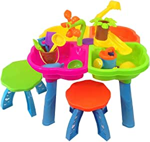 Sand and water play table 4 in 1 with loads of great accessories and 2 stools by Inside Out Toys