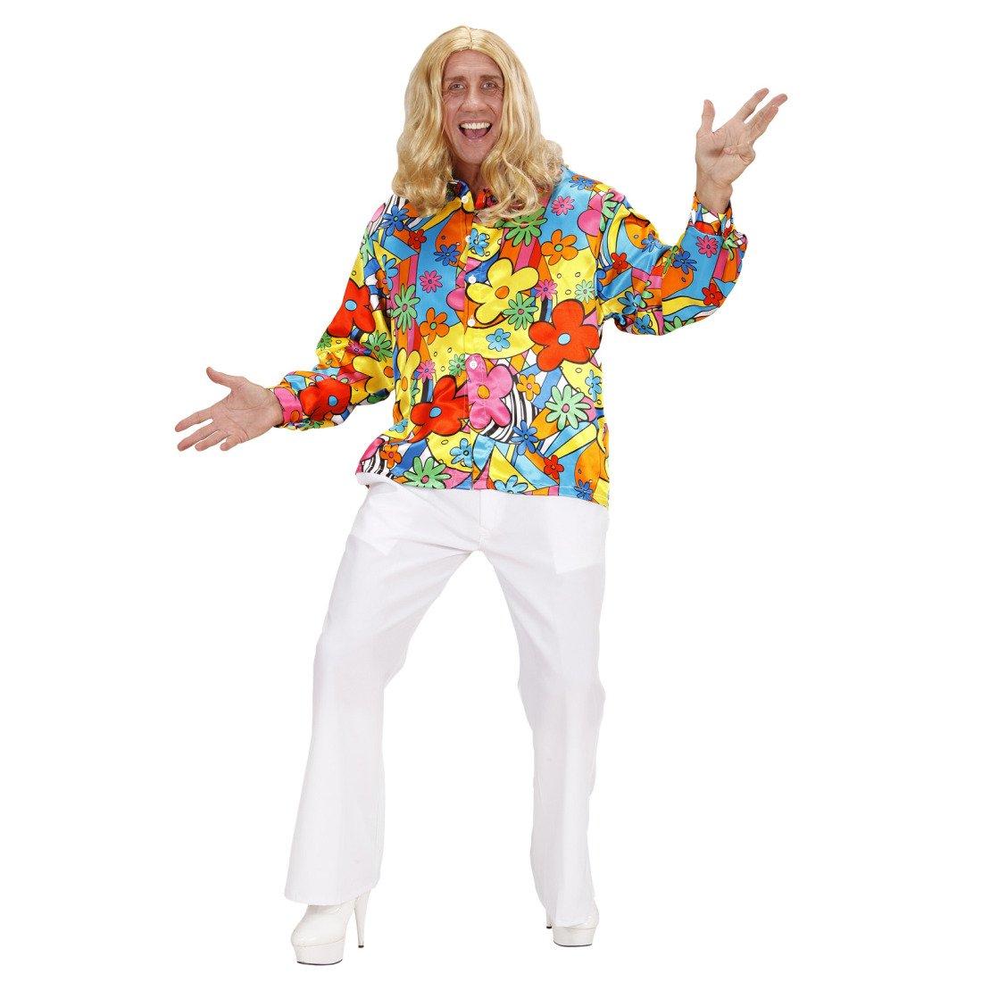 60er 70er buntes Hippiehemd Blumenhemd Herren Hemd Flower Power Outfit Kleidung