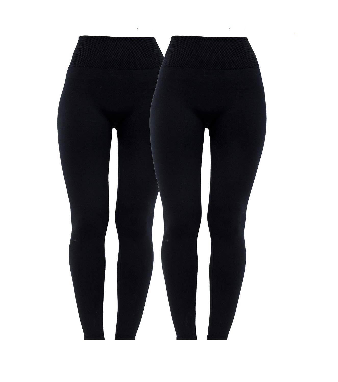 Diravo 2 Pack High Waist Leggings for Women Fleeced Lined Winter Thick Leggings