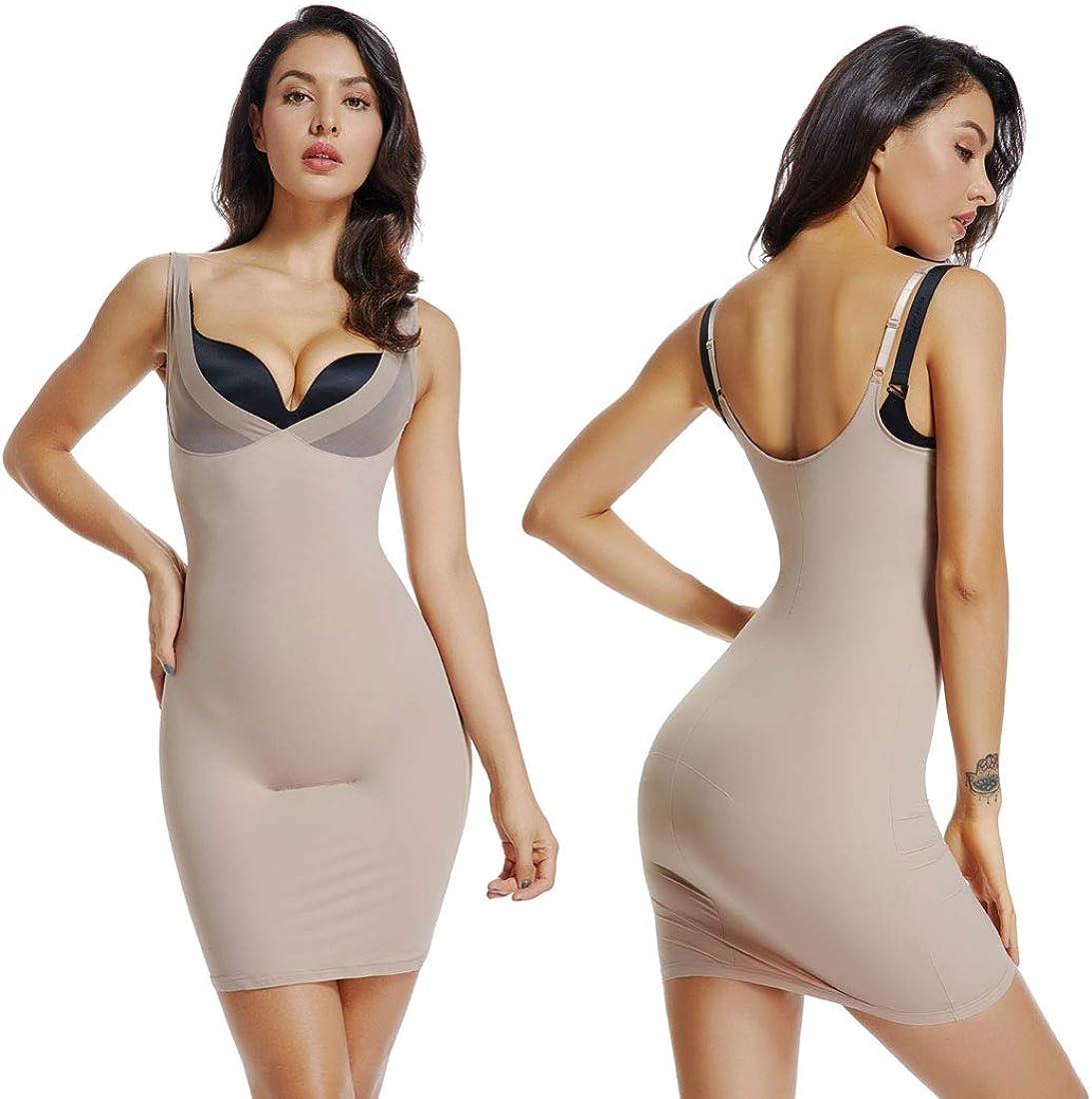 WOWENY Damen Nahtlos Unterkleid Hohe Taille Miederkleid Bauchweg Unterw/äsche Figurformend Miederrock Tailenhoch Unterrock