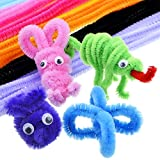 Outus Pompoms, Self-sticking Wiggle Googly Eyes, Chenille Stems for Craft DIY Art Supplies, 450 Pieces
