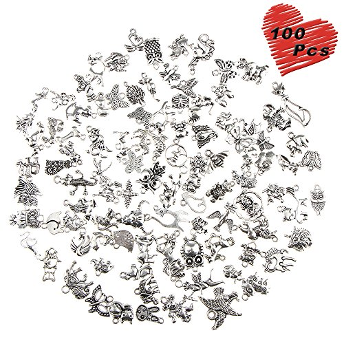 - 100 Pcs Wholesale Silver Charms Mixed Smooth Metal Charms Pendants Accessory, DIY for Jewelry Making and Crafting (Animal Style)