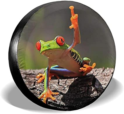 Tire Cover Frog On Green Leaf Potable Polyester Universal Spare Wheel Tire Cover Wheel Covers for Trailer RV SUV Truck Camper Travel Trailer Accessories