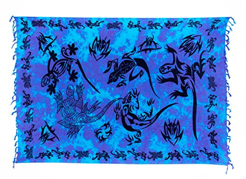 Sarong Pareo Dhoti Lunghi ca. 170cm x 110cm Türkis Lila Batik mit Schwarzem Gecko Motiv Handgefertigt