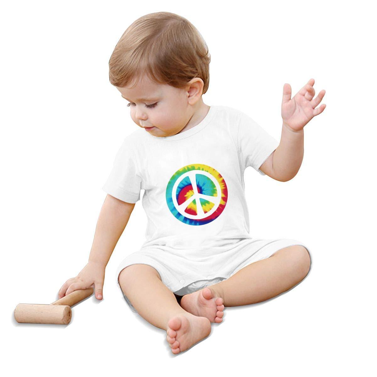 A1BY-5US Newborn Infant Baby Girls Boys Romper Jumpsuit Tie Dye Peace Sign Cotton Short Sleeve Romper Bodysuit