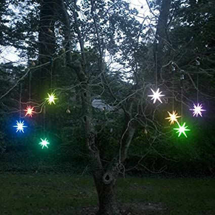 Amazon 4 inches frosted starburst outdoor lighted ornament 4 inches frosted starburst outdoor lighted ornament color changing led with timer aloadofball Choice Image