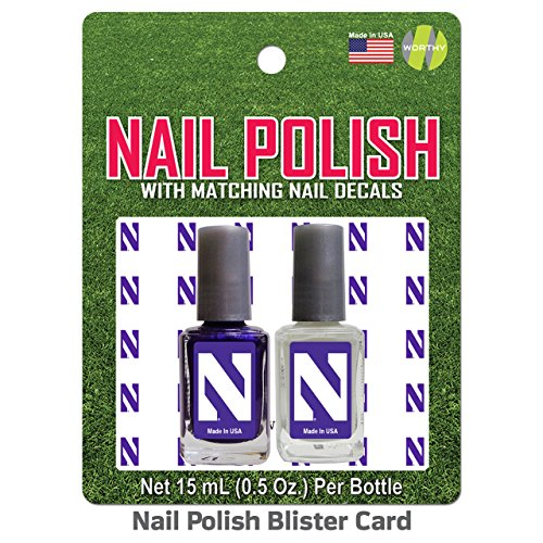 Northwestern Wildcats 2 Pack Nail Polish with Decal - Team Color,