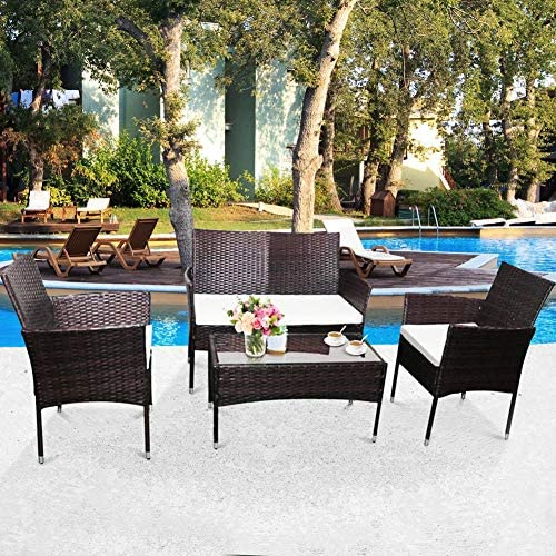 HCROMAT Glass Top Coffee Table and 3 Armchair Patio Furniture