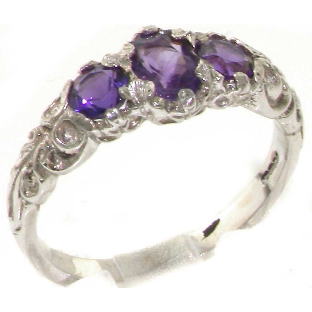 925 Sterling Silver Natural Amethyst Womens Promise Ring - Size 5.5