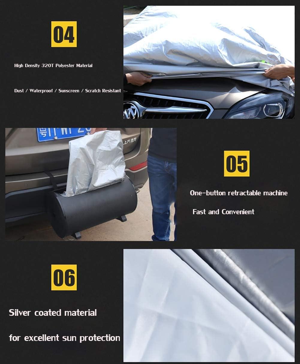 SUAIBEI Automatische Autoabdeckung intelligenter Sonnenschutz Automatische Erweiterung Ferngesteuerter Auto-Mantel Sonnenschutz//Regen//Kratzfestigkeit Geeignet f/ür 4 Jahreszeiten