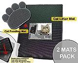 BALLMIE™ Cat Litter Mat Set (2 Units),Large Double-Layer Honeycomb litter mat,Size 30''×23'',Black Cat Litter mat,Cute feeding mat,Litter Box,Litter-Trapping,Waterproofed,Exclusive Urine,non-toxic soft
