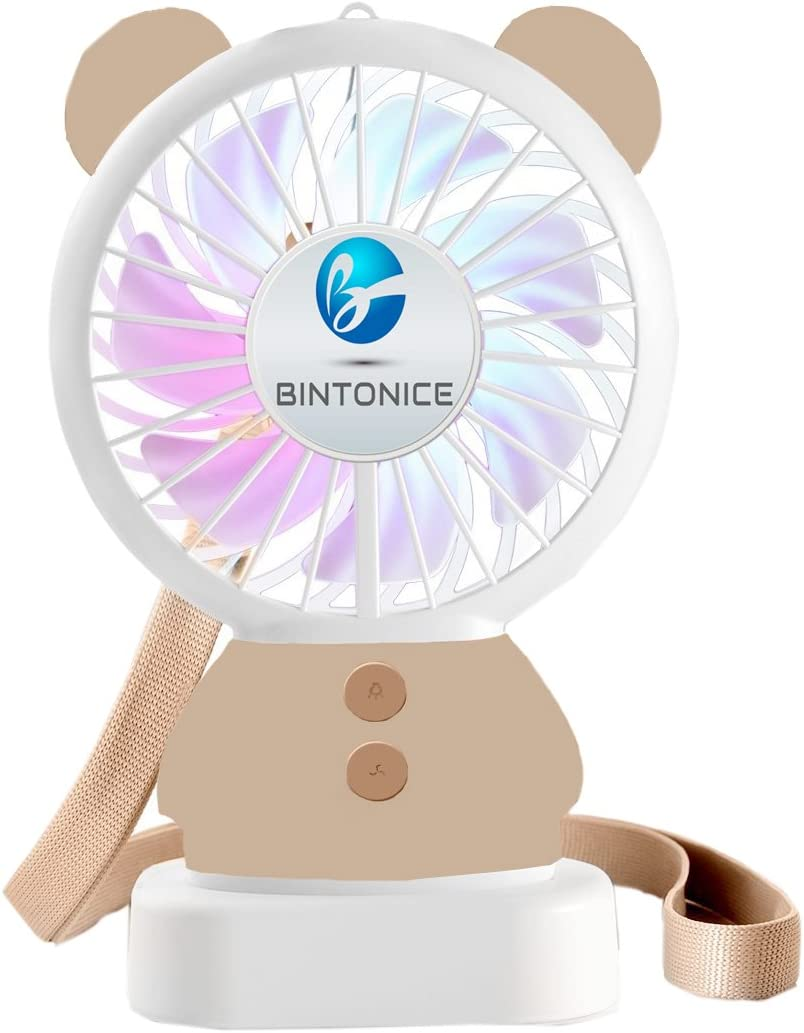 Mini Handheld Fan, BINTONICE Personal Portable Desktop Table Cooling Fan with USB Rechargeable Battery Operated Electric Fan for Office Indoor Outdoor Activities(Brown Bear)