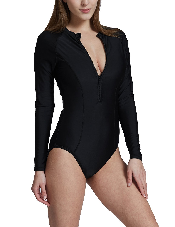 Baleaf Women's Long Sleeve One Piece Sun Protection Rash Guard Rashguard UPF 50+ Swimsuit Black Size XXL