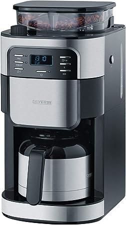 SEVERIN KA 4812 Cafetera automática con Molinillo para Café Molido o en grano temporizador desconexión automática 8 tazas acero inoxidable/negro: Amazon.es: Hogar