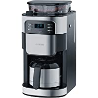 SEVERIN KA 4812 Kaffeeautomat mit Mahlwerk (Für Kaffeebohnen und Filterkaffee, Timerfunktion, Automatische Abschaltung, 8 Tassen) edelstahl/schwarz