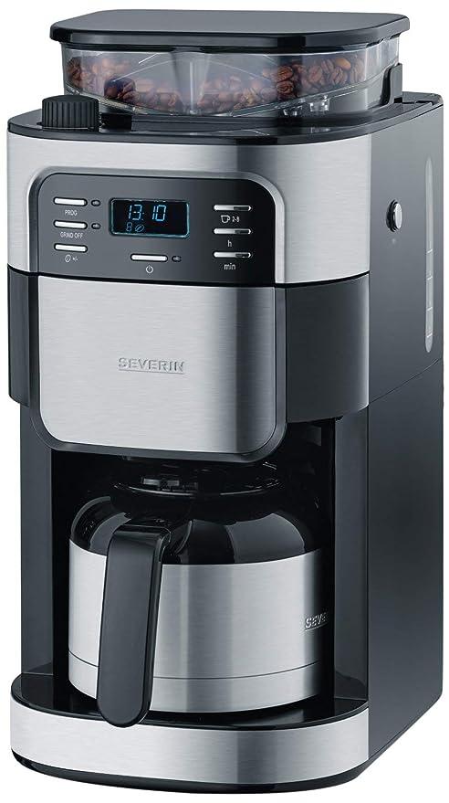 SEVERIN KA 4812 Cafetera automática con Molinillo para Café Molido o en grano temporizador desconexión automática 8 tazas acero inoxidable/negro