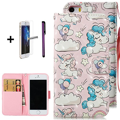 iPhone 5 Case,iPhone 5S Case,ISADENSER Fancy 3D Print Floral Bling Crystal Diamonds Wallet Case with Card Slots Slim PU Leather Flip Kicstand Case Cover for iPhone 5/5S/SE, 3D Cloud Unicorns