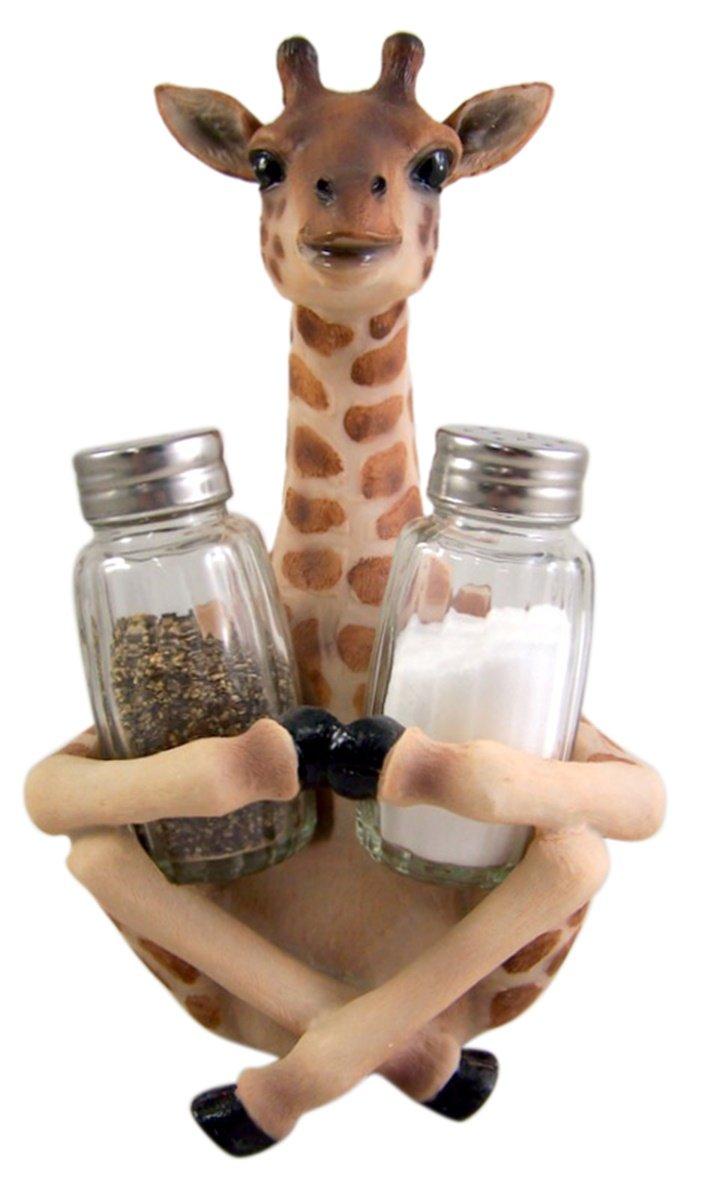 Giraffe Salt and Pepper Shaker Holder 8 1/4 Inch (Shakers Included)