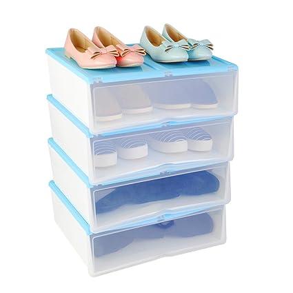 4X Cajas para Zapatos y Botas Cortas Plásticas, Organizadores de Almacenaje Apilables Transparentes, Azul