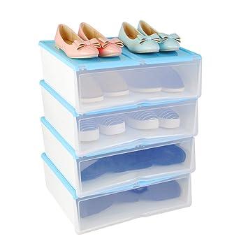 4X Cajas para Zapatos y Botas Cortas Plásticas, Organizadores de Almacenaje Apilables Transparentes, Azul, Uuhome: Amazon.es: Hogar
