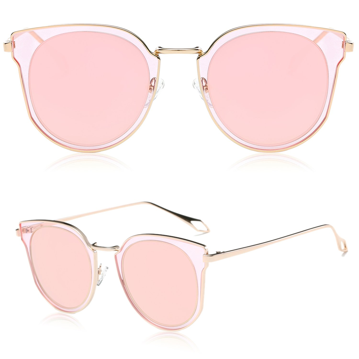 6c9abefc9b0 SOJOS Polarized UV Mirrored Lens Oversize Metal with Rose Gold Frame Unisex  Sunglasses  Amazon.in  Clothing   Accessories