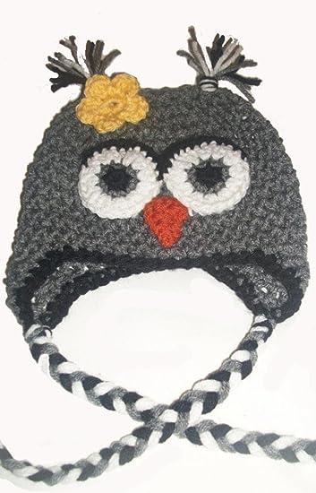 7511cbef Amazon.com: Sweet Lullabiez Handmade Gray & Black Owl Beanie with ...