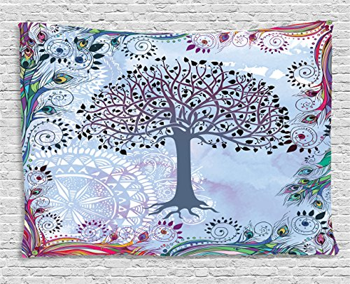 Ambesonne Nature Tapestry Decor, Cute Tree of Life Motif with Peacock Feathers Tribal Vintage Primitive Nature Illustration, Wall Hanging for Bedroom Living Room Dorm, 60 W X 40 L Inches, Blue