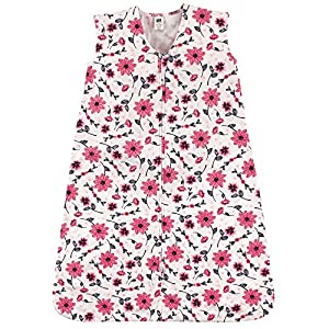 Hudson Baby Wearable Safe Soft Jersey Cotton Sleeping Bag, Pink Flowers, 0-6 Months