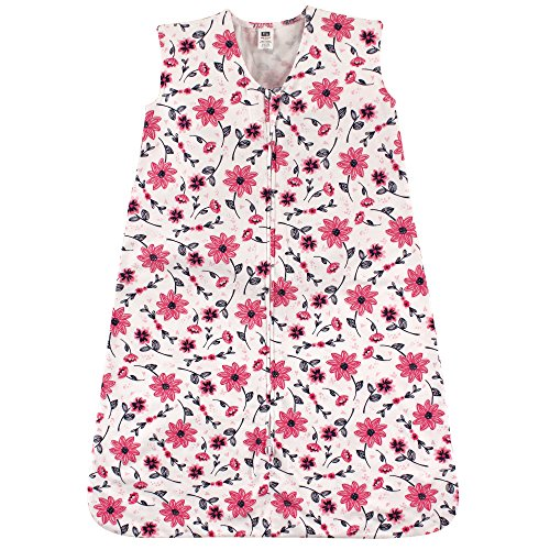 Hudson Baby Wearable Safe Soft Jersey Cotton Sleeping Bag, Pink Flowers, 12-18 Months