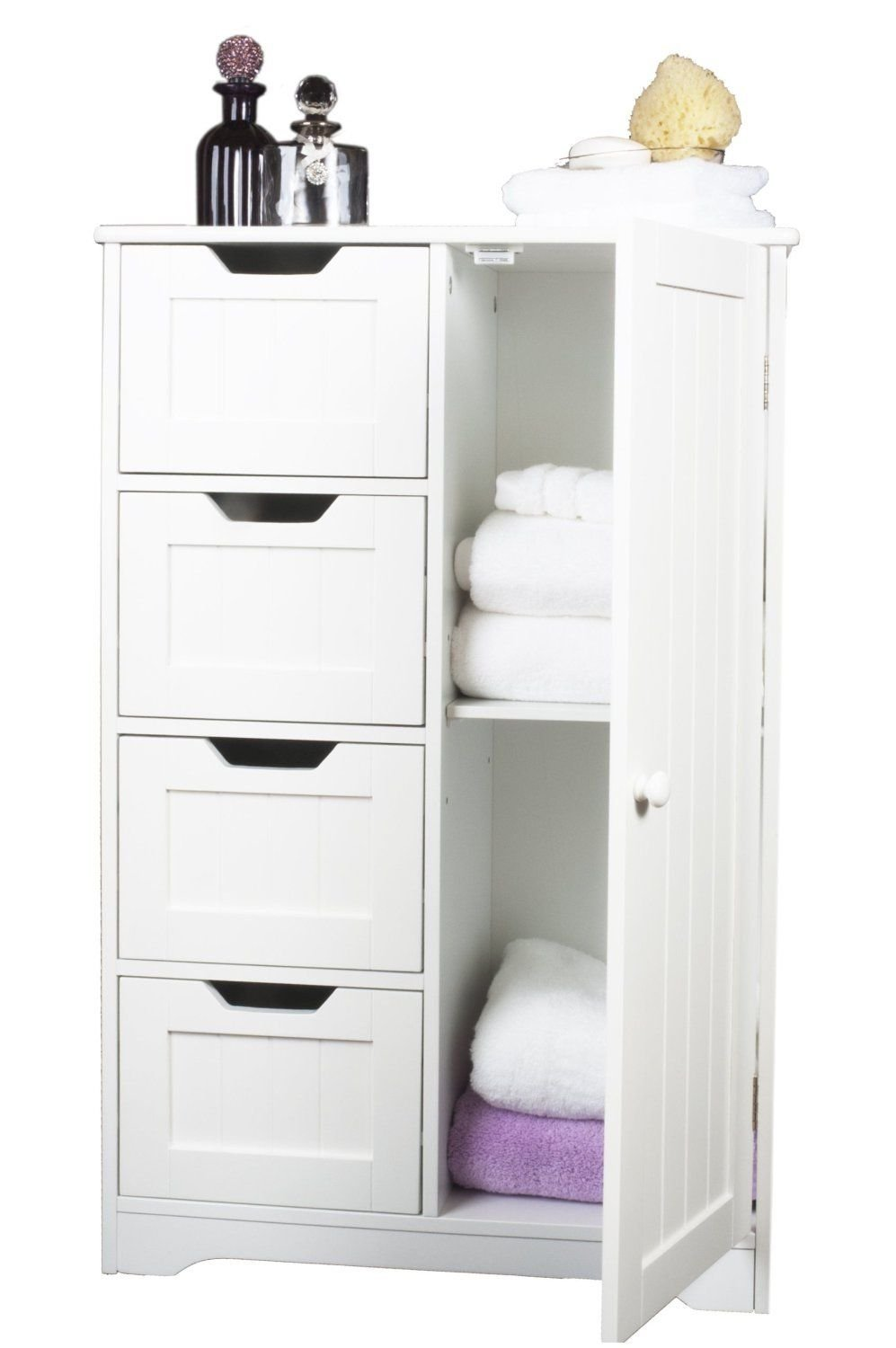 Home Treats White Wooden Bathroom Cabinet With Four Drawers u0026 Cupboard Ideal For Bathroom or Bedroom  sc 1 st  Amazon UK & Bathroom Chest of Drawers: Amazon.co.uk