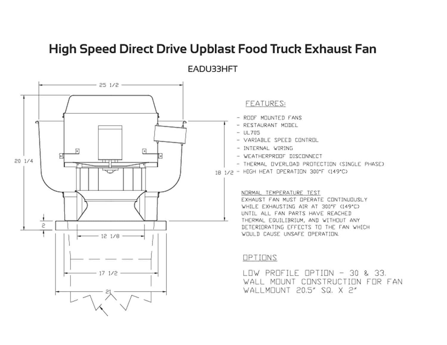 600-1050 CFM Direct Drive Upblast Food Truck Concession Trailer Exhaust Fan  with Mounting Bracket - Motor:.333 HP/115 V/Single Phase/Speed Control: ...
