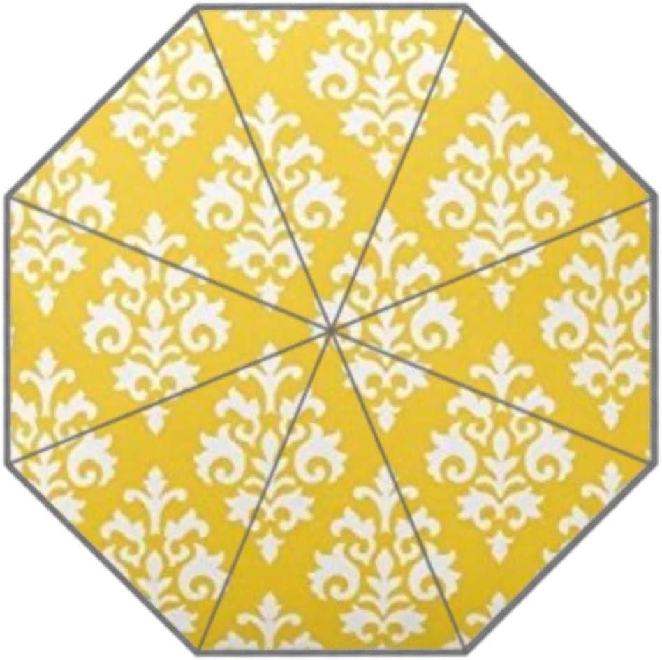 Yellow and White Floral Pattern Flower Design Home quarees Umbrella Three Folding Green Umbrella Rain Women Sunscreen Anti UV Umbrellas